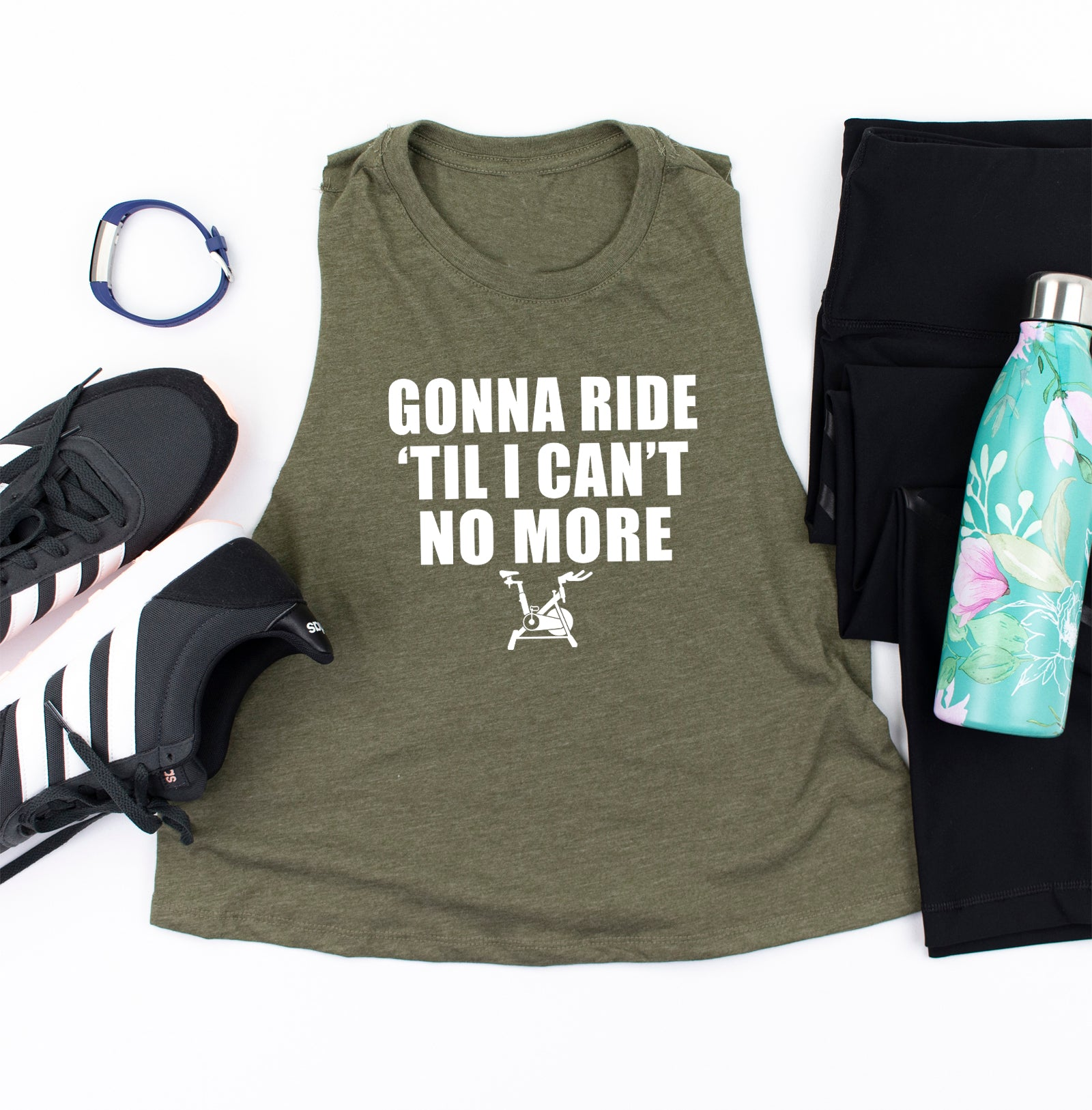 Gonna Ride Til I Can't No More. Fitness Tank. Workout Shirt. Tap Backs. Soul Ride. Spinning. Cycling. Funny Workout. Instructor. Ride Shine