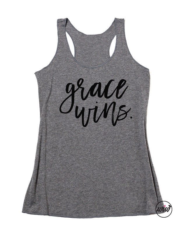 Grace Wins Tank Top. Inspirational Faith. Yoga Tank. Fitness Tank. Christian Shirt. Workout Shirt. Faith Inspired. Amazing Grace.