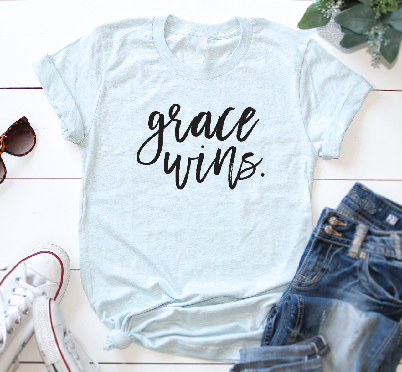 Grace Wins Unisex Shirt | Faith | Christian Shirt | Jesus Hot Mess Shirt | Scripture Shirt | Grace Upon Grace | Inspriation Let God