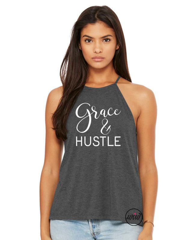 Grace and Hustle High Neck Tank Top. Grace Grit. Christian Tank. Inspirational. Faith and Fitness Shirt. Yoga. Amazing Grace. Hustle Shirt