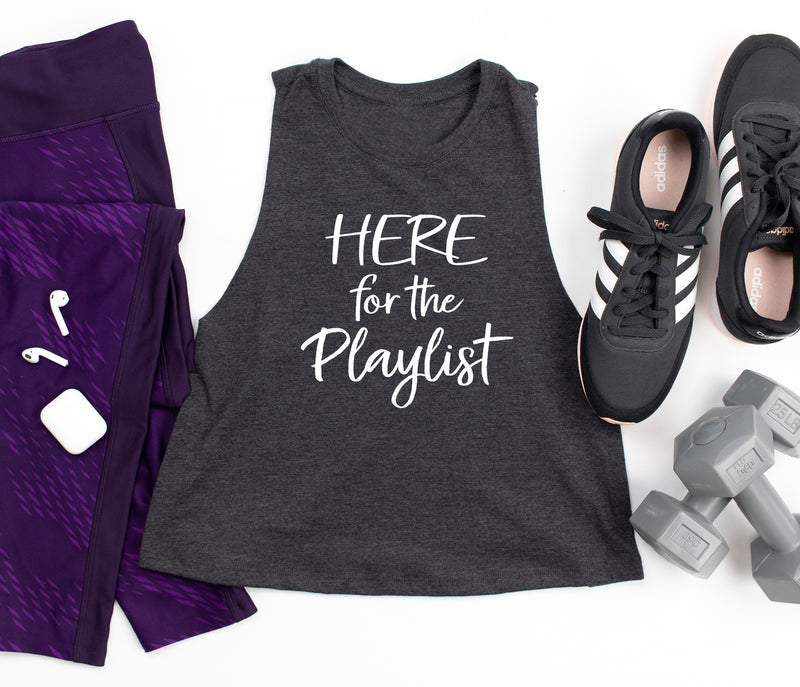 Here For The Playlist. Five In The Morning. Beats. Yoga. Spinbabe. Workout Tank. Pilates. Fitness Tank. Gym Shirt Exercise Tank. Besties