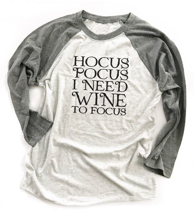 Hocus Pocus I Need Wine To Focus Unisex Baseball Tee. Funny Wine Halloween Shirt. Happy Halloween. Basic Witch. Thanksgiving. Fall Shirt. Funny Wine Shirt