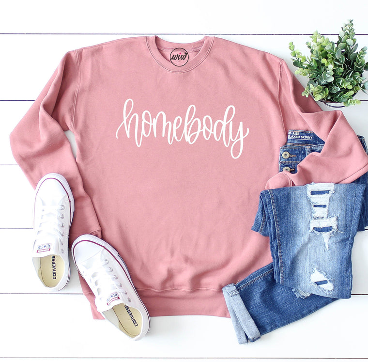 Homebody Crewneck Unisex Sweatshirt. Introvert Shirt. Stay at Home. Can't Adult. Lazy Day Cozy AF. Preggers.