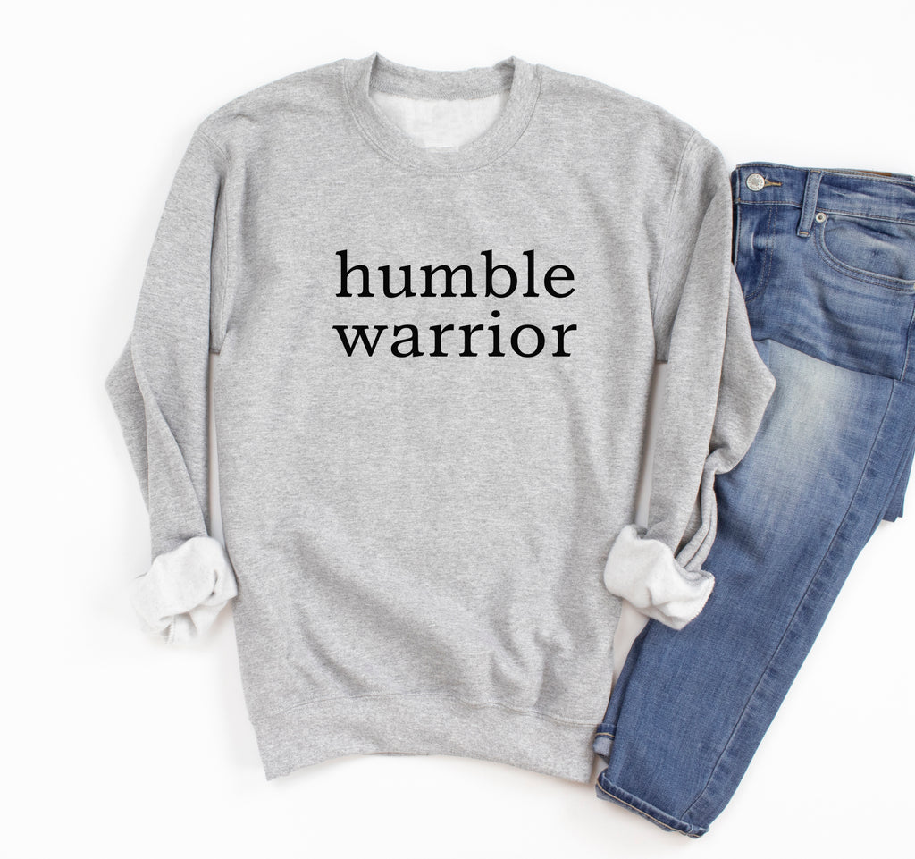 Humble Warrior Oversized Sweatshirt. Yoga Shirt. Christian Faith. Inspirational Shirt. Stay Humble Be Kind. Positive Shirt. Pilates Barre