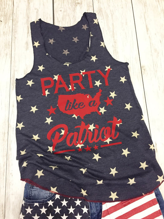 Party Like A Patriot Eco Tank Top. Fourth of July. WOD. Merica. America. USA Party Like It's 1776. American Flag. Red White Booze. Patriotic. Oh My Stars. Republican Shirt