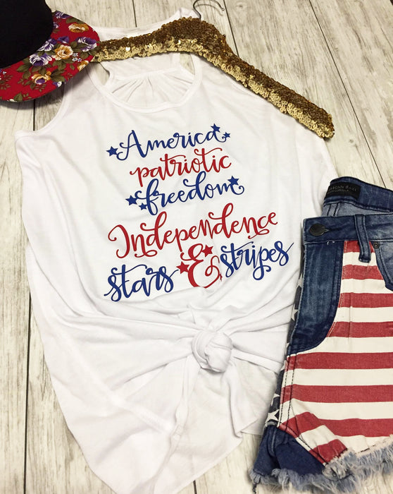 America Patriotic Tank Top. Fourth of July. Country Music. Red White Blue. American Girl. Merica. 4th of July Shirt. Independence Day. Faith