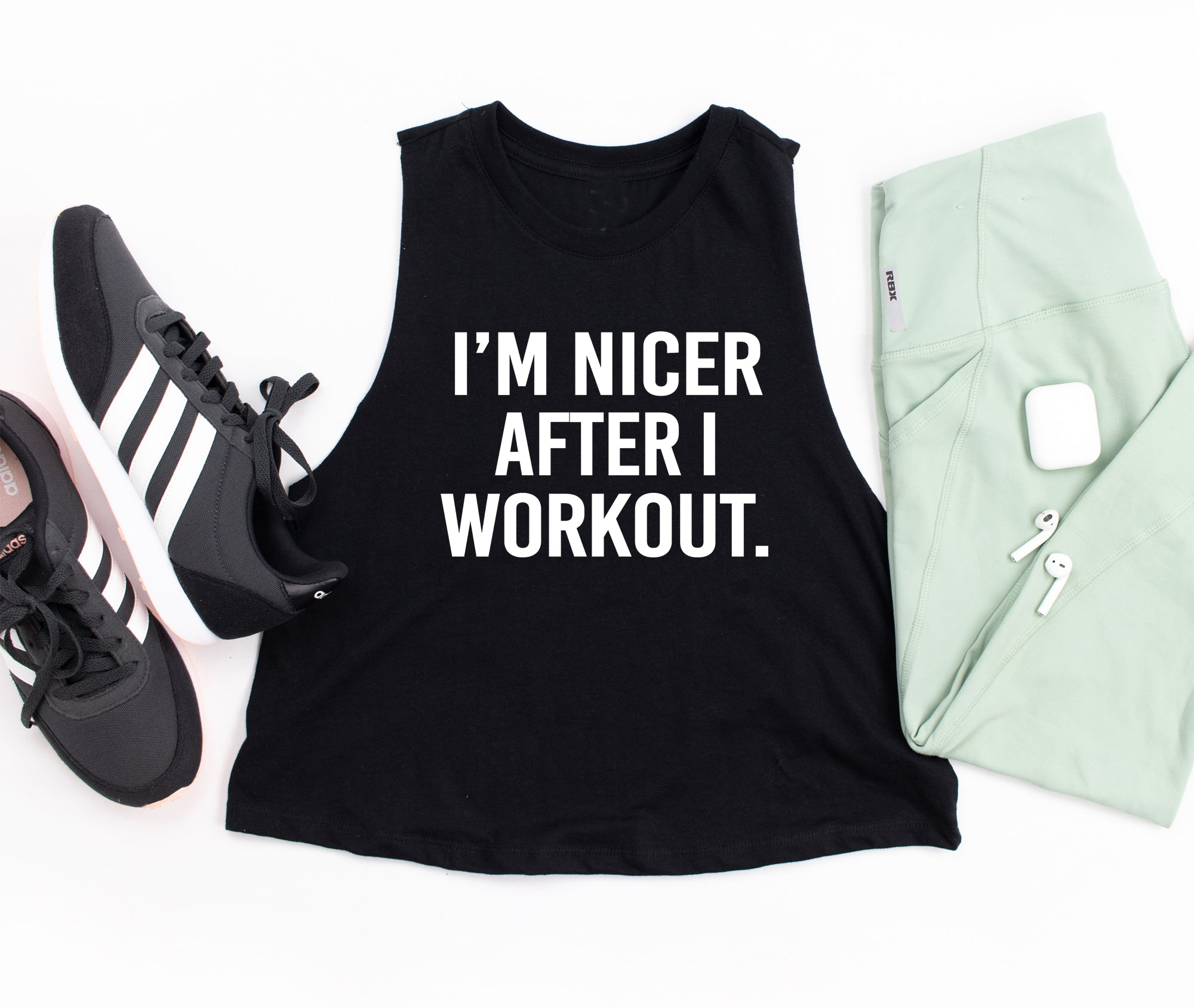I M Nicer After I Workout Crop Tank Top Funny Workout Shirt Gym Shir Workitwear Clothing