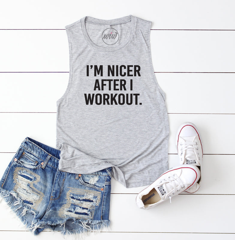 I'm Nicer After I Workout Tank. Pilates Tank. Funny Womens Workout Tank. Fitness Tank. Gym Shirt. Exercise. Yoga. Boxing. Kickboxing.