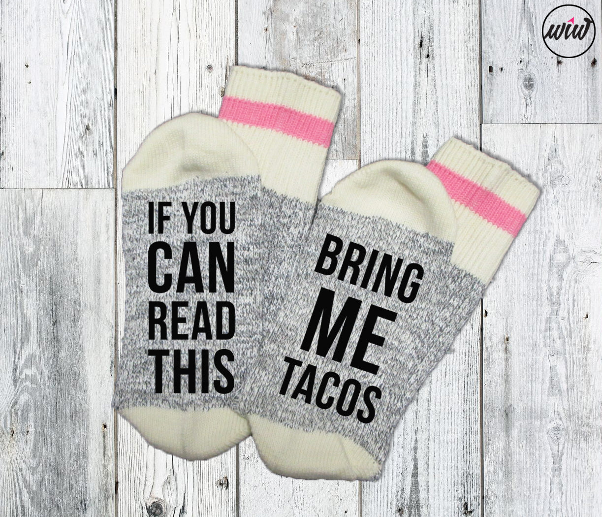 If You Can Read This Bring Me Tacos. Funny Socks. Taco Socks. Word Socks. Feed Me Tacos. Stocking Stuffers. Socks With Sayings.