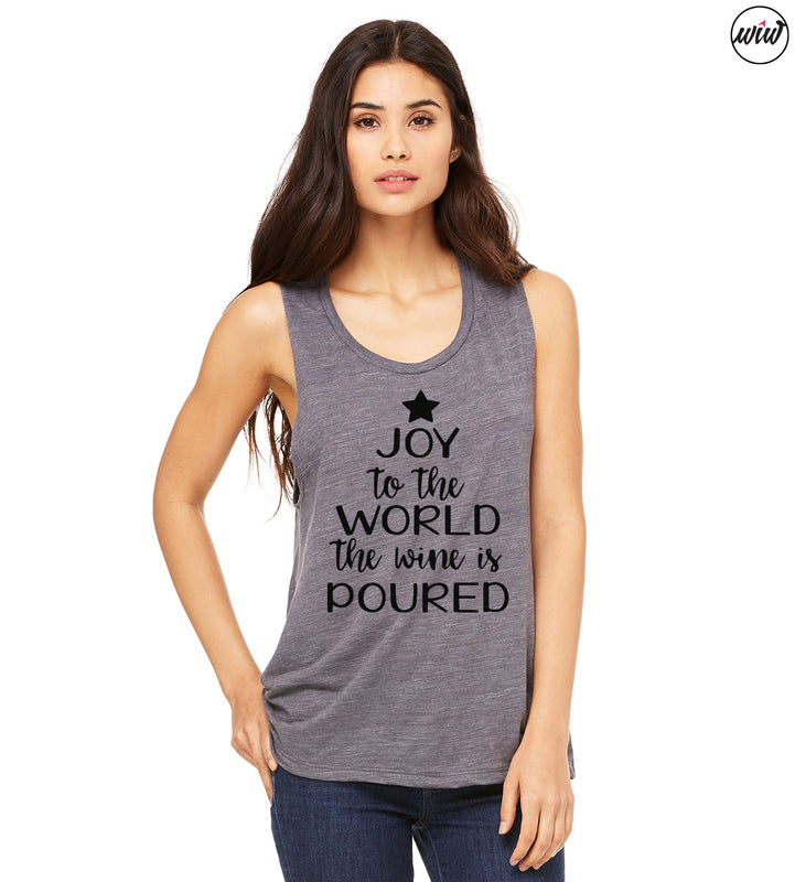 JOY To The World The Wine Is Poured. Yoga Wine Holidays. Christmas Shirt. Yoga Tank. Yoga Vest. Wine Tank. Wine Christmas. Rose Yoga Sip Shirt. Chardonnay