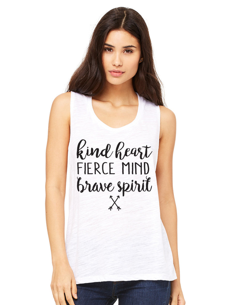 Kind Heart Fierce Mind Brave Spirit Muscle Tank Top. Yoga Tank. Workout Tank. Fitness Tank. Graphic Tee. Faith Christian. She Is Strong