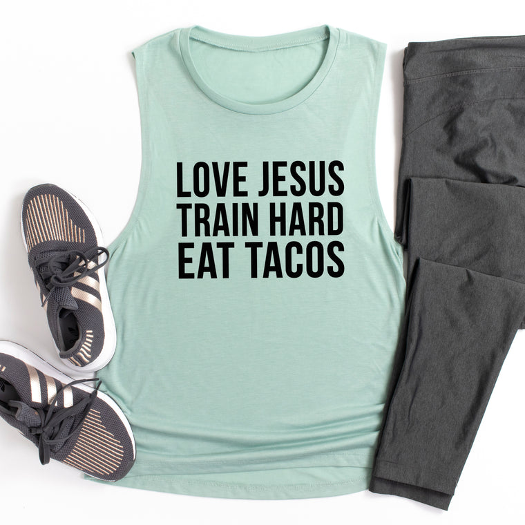 Love Jesus Train Hard Eat Tacos. Motivation. Christian Shirt. Fueled By Jesus. Faith Fitness Grind. Workout Tank. Fitness Tank. God Goals.