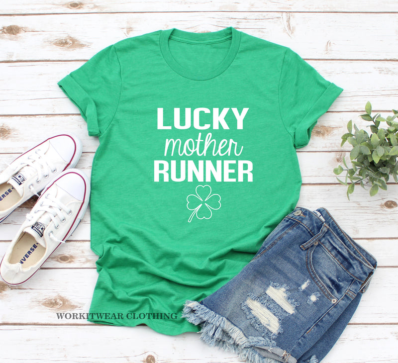 Lucky Mother Runner Shirt. St Patricks Day. Funny Irish Running Shirt. St. Pattys Day Tank. Lucky Shirt. Shamrock Shirt. Run Like A Mother