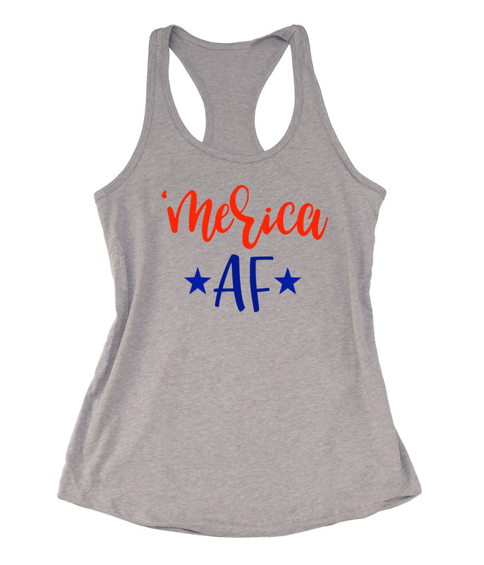 MERICA AF Tank Top. Merica Shirt. Fourth of July. Country Music. Patriotic AF. USA. Tailgate Shirt. 4th of July. 1776
