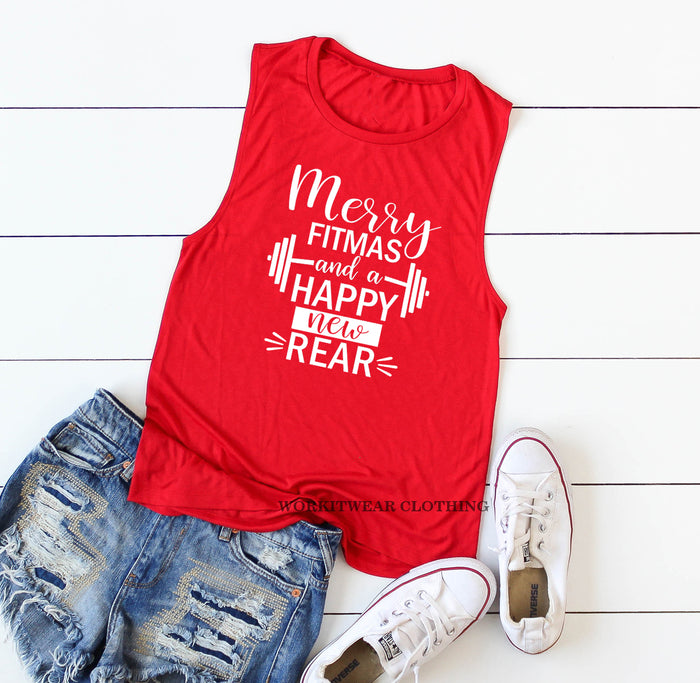 Merry Fitmas And A Happy New Rear. Funny Christmas Workout Tank. Namasleigh. Funny Christmas Shirt. Fitness Animal. Santa Baby. Gym Exercise