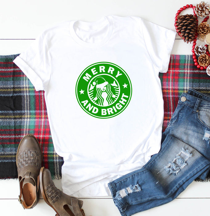 Merry and Bright Christmas Shirt. Freaking Merry. Christmas Shirt. Tis The Season. Coffee Shirt. Holiday Tee. Starbucks Coffee.