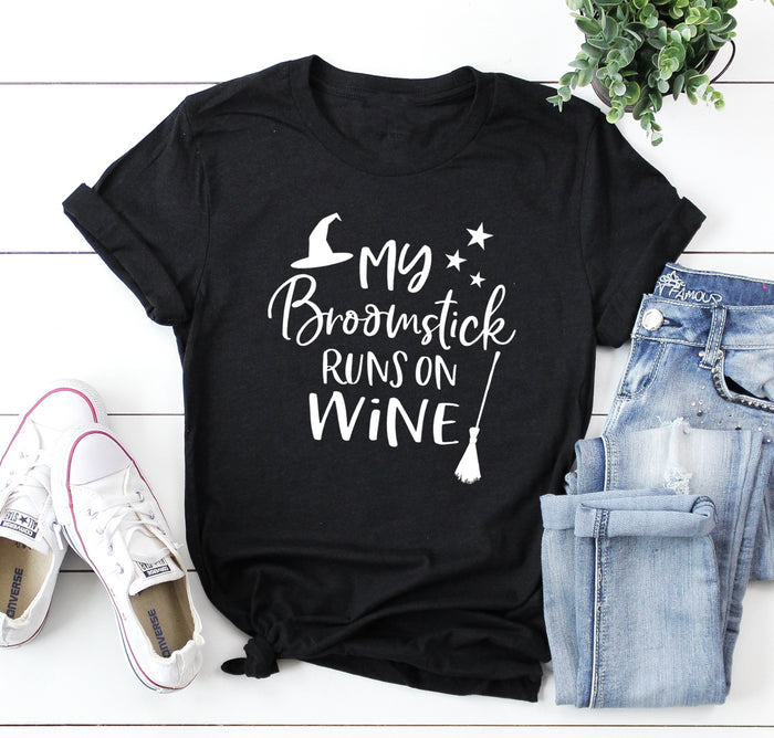 My Broomstick Runs on Wine Shirt. Witch Please. Halloween Shirt. Basic Shirt. Halloween Shirt. Funny Wine Shirt. Happy Halloween.