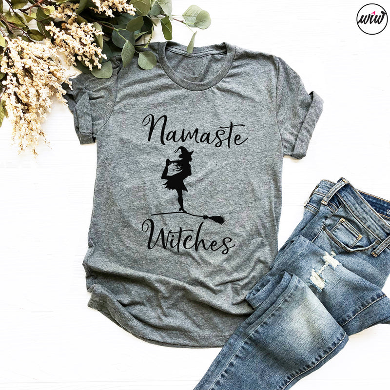 Namaste Witches Shirt. Yoga. Pilates. Basic Witch. Witch Please. Halloween Bootcamp. Workout Tank