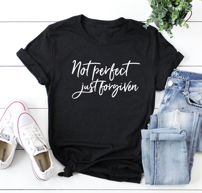 Not Perfect Just Forgiven Shirt | Faith Tee | Christian Shirt | Inspirational | Boyfriend Tee Graphic Shirt | Jesus Saves