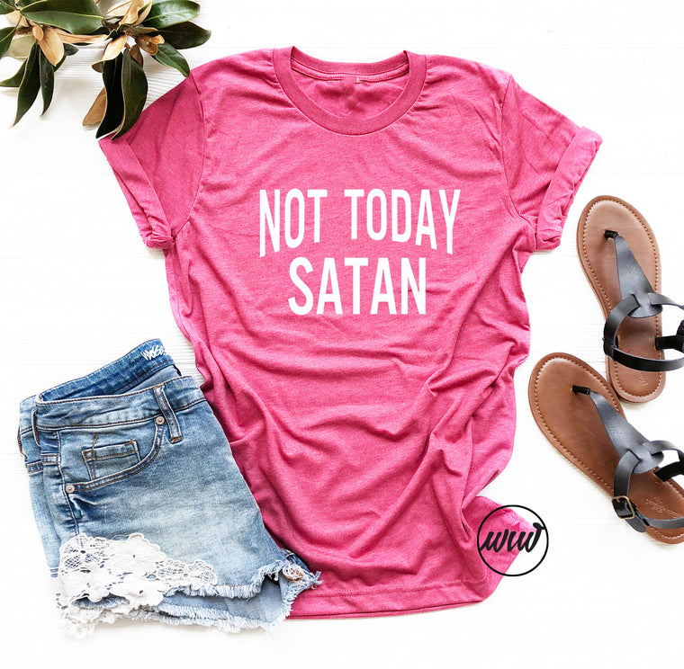 Christian T-Shirt, Not Today Satan, Faith Shirts, Christian Shirt, Jesus Shirt, Gift for Her, She Is Strong, Blessed, Saved, Fearless, Mama