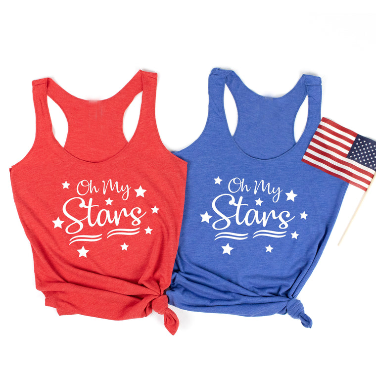 Oh My Stars. Fourth of July Tank Top. Red White Blue. Patriotic. 4th of July. USA. 1776. America. Independence Day. Stars and Stripes