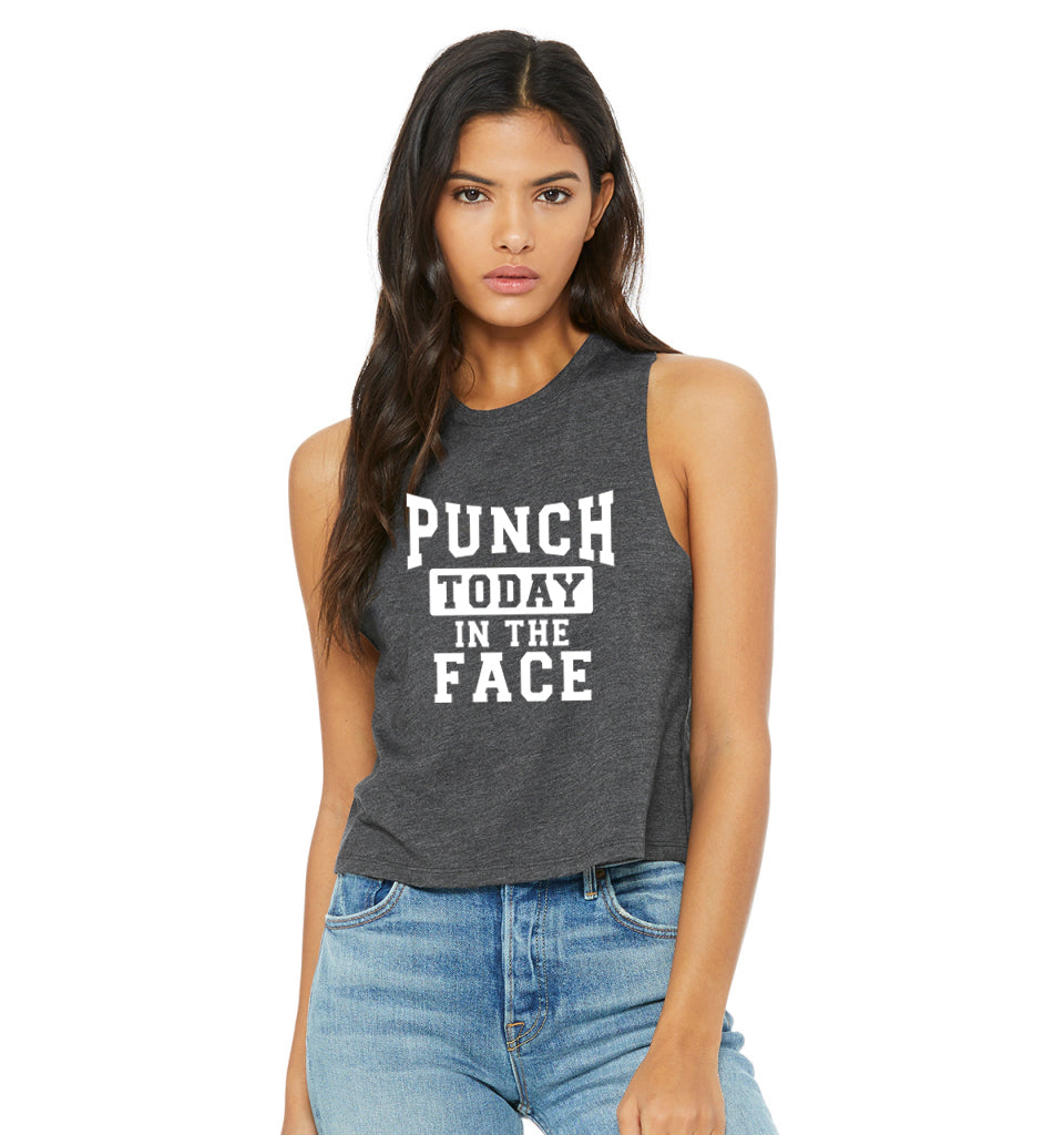 Punch Today In The Face Cropped Tank Top. Monday Shirt. Fitness Tank. Workout Tank. Boxing. Kickboxing. Gym Shirt. Funny Workout.