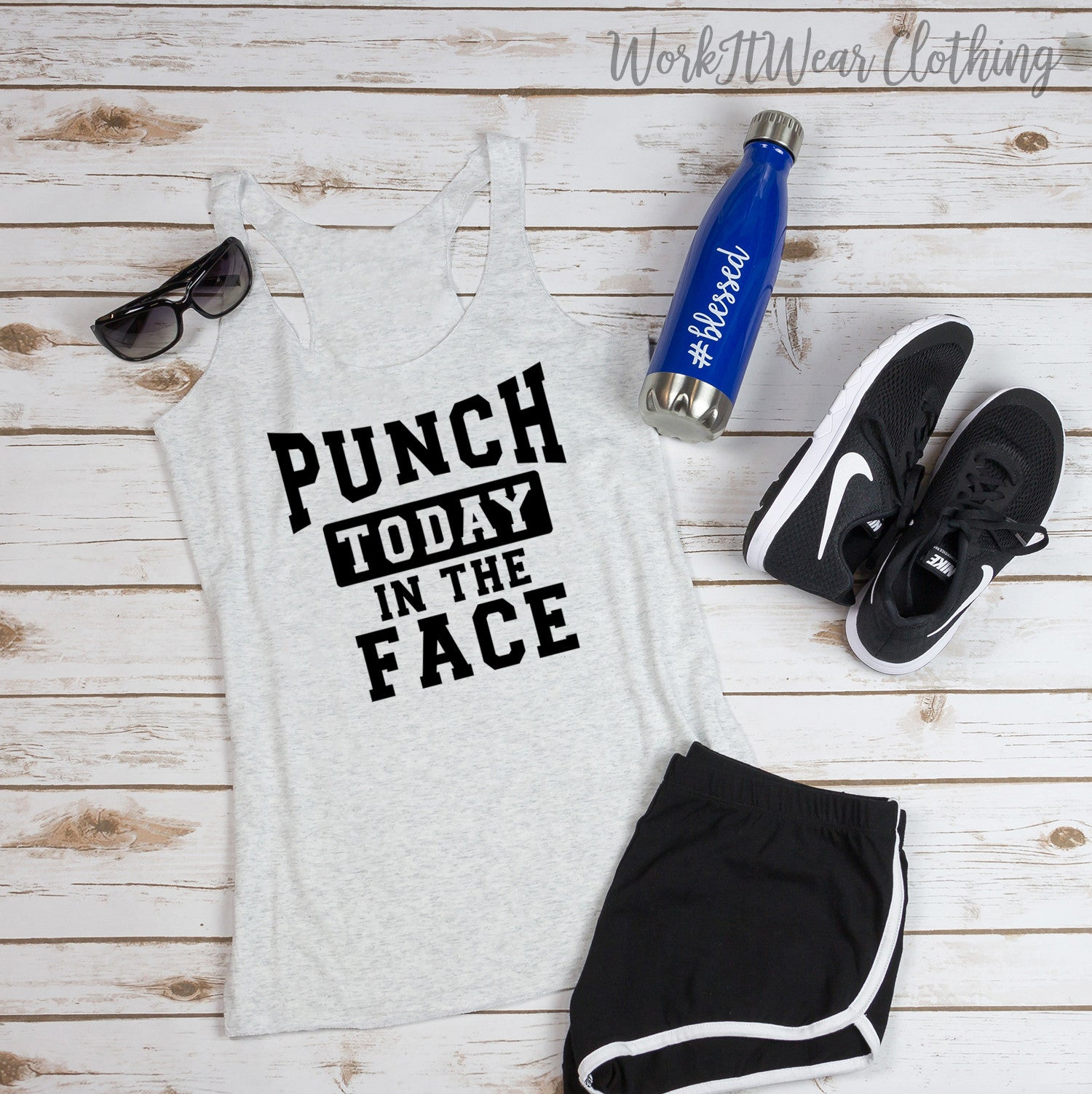 Punch Today In The Face Tank Top. Get It Done. Handle It. Workout Tank. Gym Shirt Fitness Tank. Boxing. KickBoxing. Fight Club.