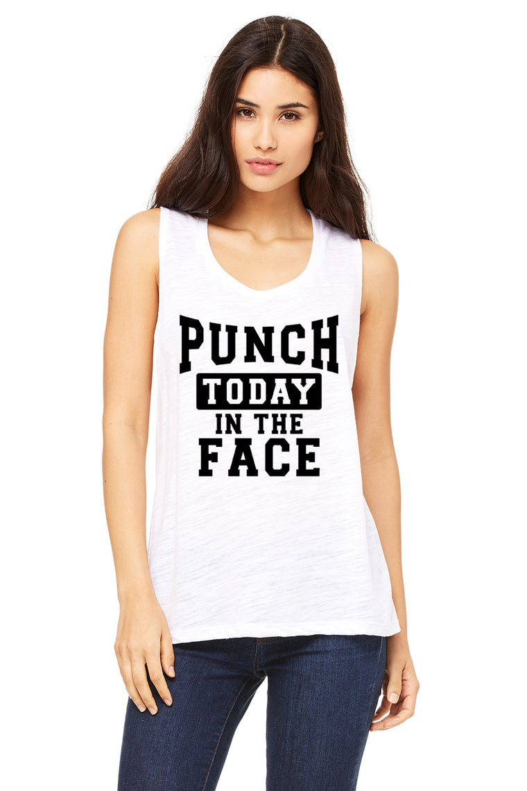 Punch Today In The Face Muscle Tank Top. Monday Shirt. Fitness Tank. Workout Tank. Boxing. TKO. Kickboxing. Gym Shirt. Yoga Tank. Funny Workout.