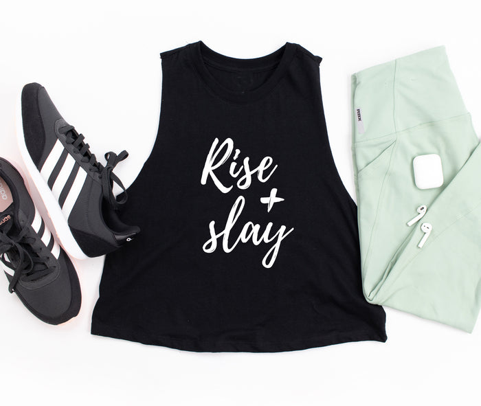 Rise and Slay Cropped Tank Top. Fitness Tank. Slay At Home Mom. Workout Shirt. Gym Tank. Faith Fitness. Yoga. Barre. Wake Pray Slay.