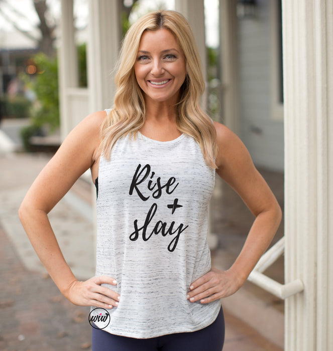 Rise and Slay. Fearless. Rise Up. Rise and Shine. Gym Shirt. Fitness Tank. Workout Tank. Running Tank. Slay Tank. Rise Grind.