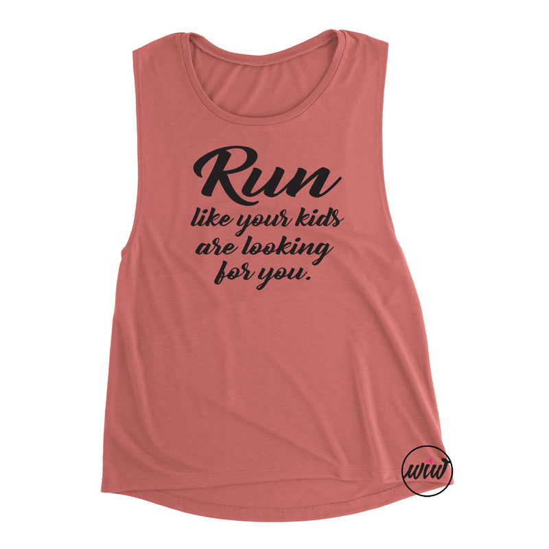 Run Like Your Kids Are Chasing You Muscle Tank Top. Funny Running Shirt. Running Tank. Workout Tank. Fitness Tank. Half Marathon. Marathon. 13.1. 5K