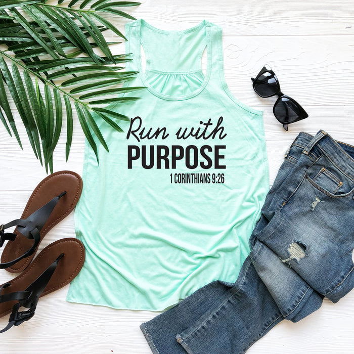 Run With Purpose 1 Corinthians 9:26 Bella Flowy Tank Top. Christian Clothing. Running Shirt. Running Tank. Christian Tank. by WorkItWear