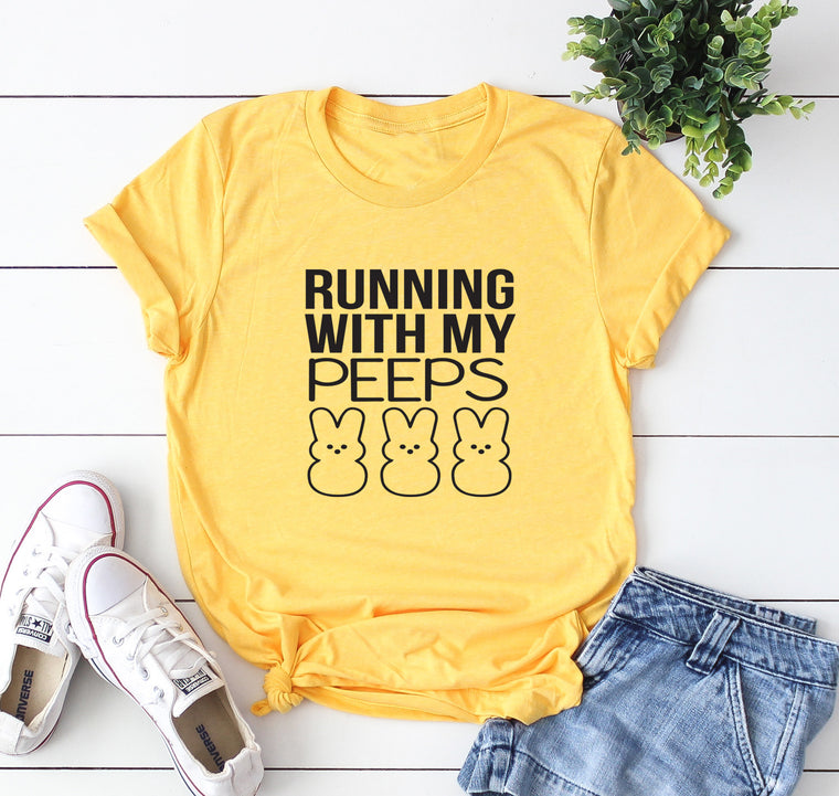 Running With My Peeps Unisex Shirt. Easter Run. Easter Race. 5K. Running Tank. Running Shirt. Running Group. Funny Running Shirt.