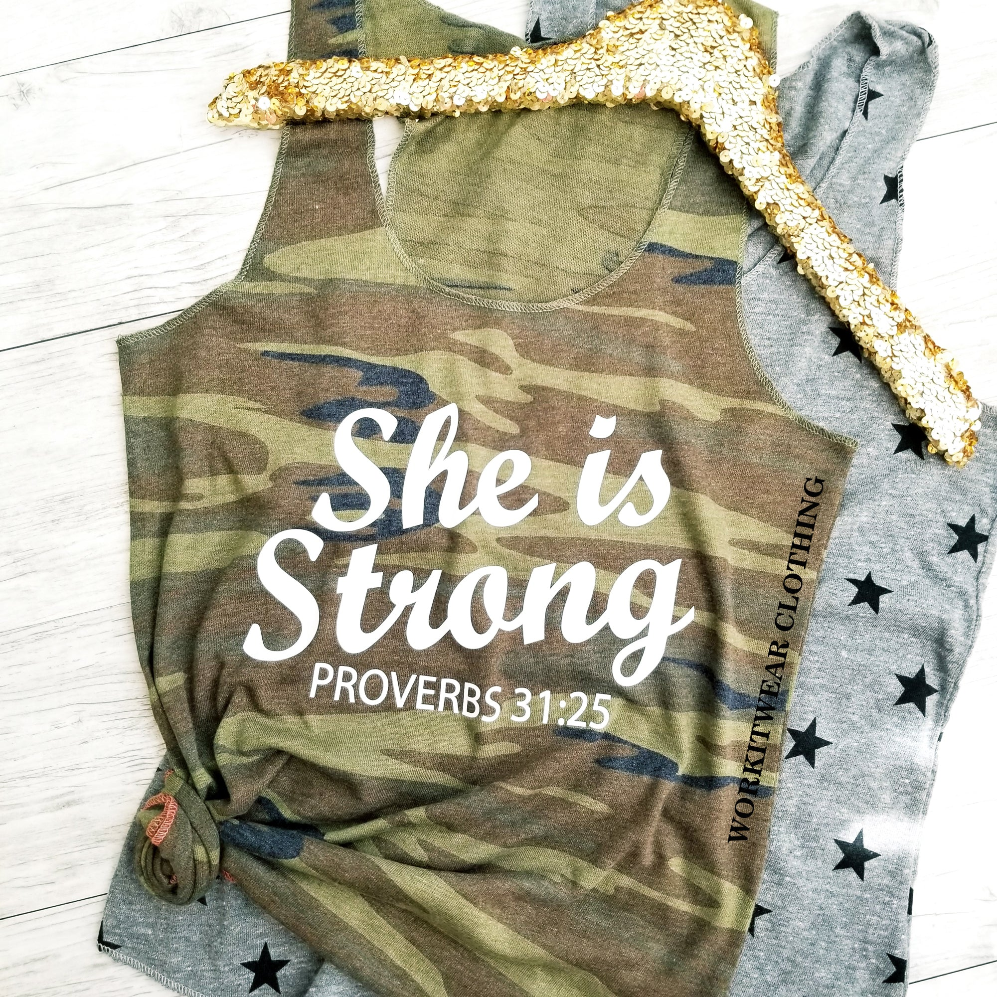 She Is Strong Proverbs 31:25. Faith Inspirational Tank. Workout Tank Top. Christian Clothing. Mom Strong. Military. Bootcamp. Fitness Tank