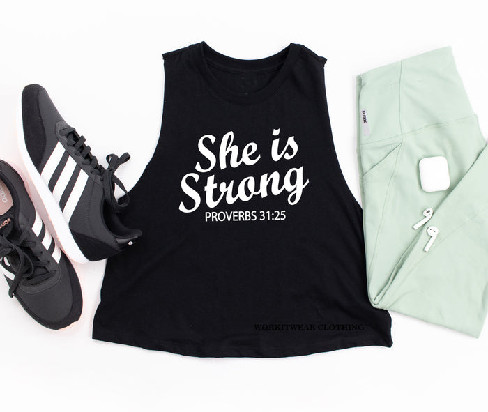 SHE Is Strong Crop Tank Top. Proverbs 31. Fitness Tank. Workout. Boxing. FEARLESS. Cross Training. Lifting Shirt. Gym Shirt. Yoga. Barre.