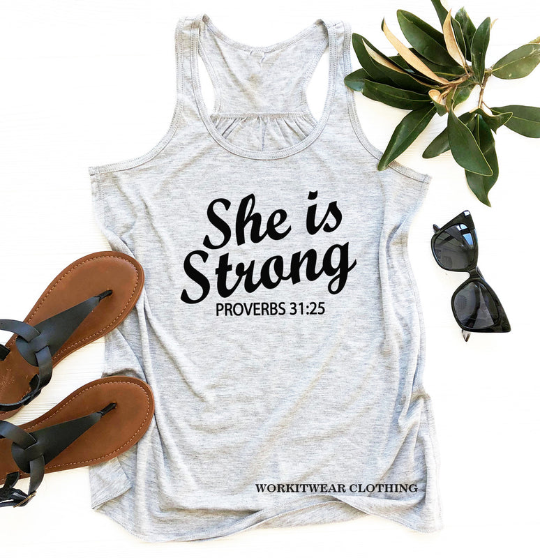 She Is Strong Workout Tank Top. Running Tank. Proverbs 31. Inspirational Shirt. Faith. Christian Tank. Fitness. Scripture Tank. Tri-Blend