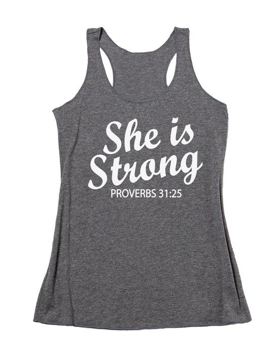 She Is Strong Tank Top. Inspirational. Yoga Tank. Proverbs 31. Faith Clothing. Fitness Tank. Christian Shirt. Workout Shirt. Faith Inspired.