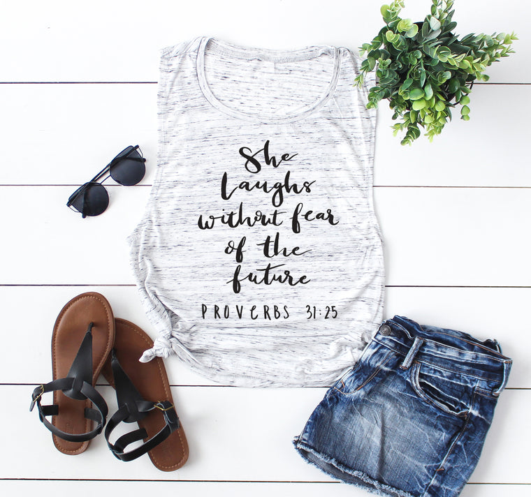 She Laughs Without Fear. She is Strong Workout Tank. Proverbs 31. Christian Fitness. Yoga Tank. Barre tank, Faith Fitness. Christian Shirt.
