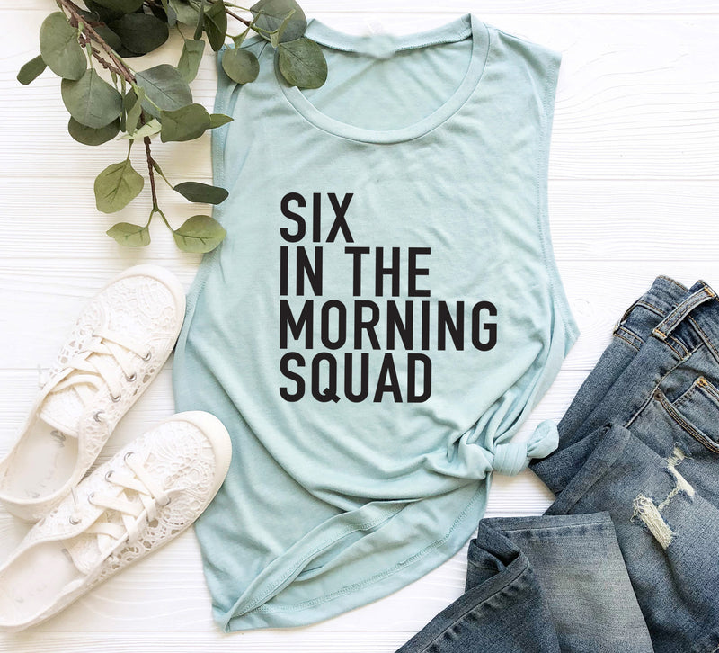 Workout Tank. 6AM Crew. Six In The Morning Squad. Six Crew Spinbabe. Pilates. Fitness Tank Gym Shirt Exercise Tank. Tread. Rise and Shine