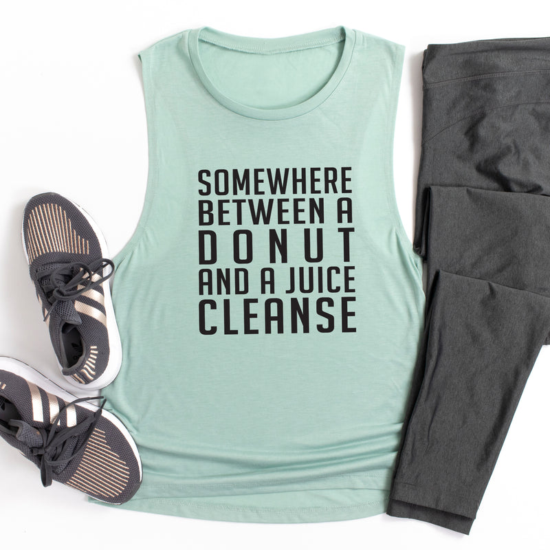 Somewhere Between A Donut and Juice Cleanse. Funny Fitness Tank. Workout Tank
