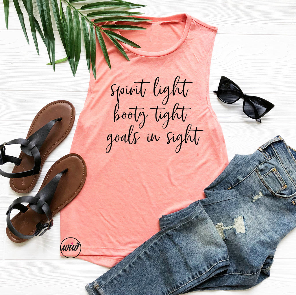 Barre Tank Top. Spirit Light Booty Tight Goals In Sight. Inspirational. Pilates. Yoga. Workout Tank. Pure Barre. Savasana. Goals Tank Top