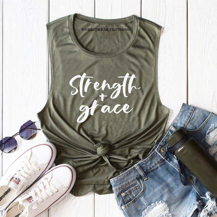 Strength and Grace© Motivation. Christian Shirt. God Goasl Grace. Faith Fitness. Workout Tank. Fitness Tank Inspiration Grace Shirt. She Is Strong