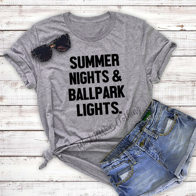 5b5b2a34f44 Baseball Shirt  Baseball Mom Shirt. Summer Nights Ballpark Lights Unisex  Shirt. Softball Tee.