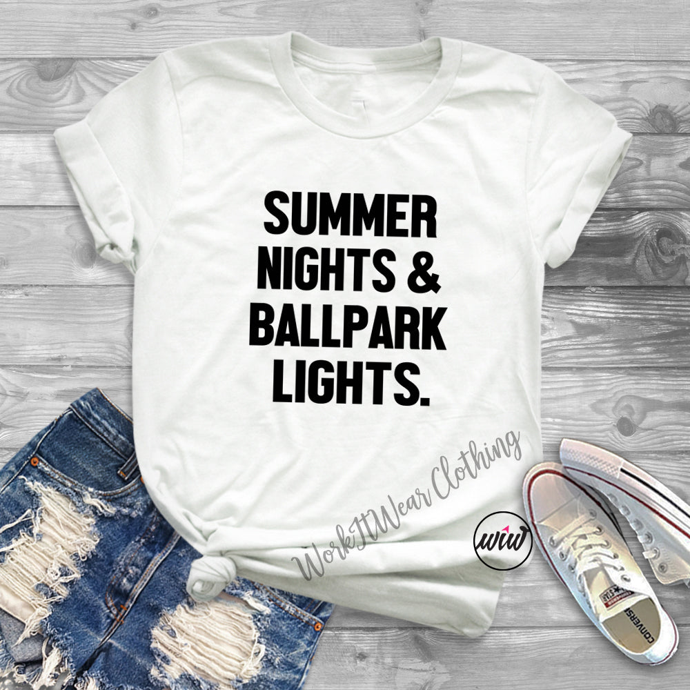505f92619d7 Baseball Shirt · Baseball Mom Shirt. Summer Nights Ballpark Lights Unisex  Shirt. Softball Tee. Baseball Shirt