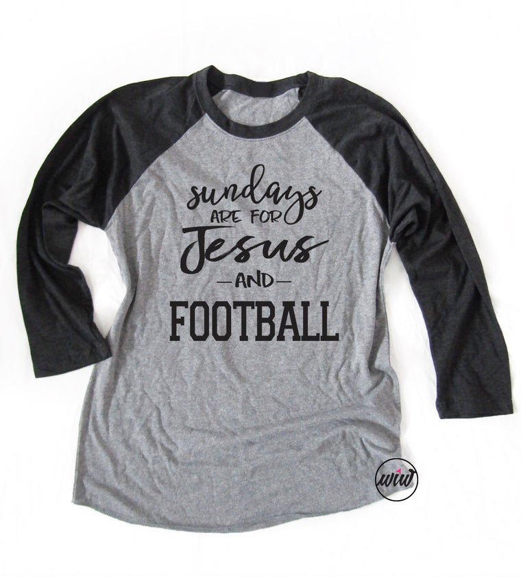Sundays Are For Jesus and Football Unisex Raglan Baseball Tee. Jesus Family Football Shirt. Football Mom. Christian Shirt. Football Yall. Faith Tee