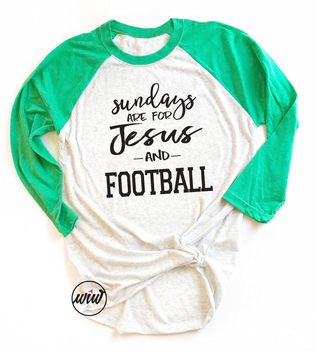 Sundays Are For Jesus and Football Unisex Baseball Tee. Jesus Family Football Shirt. Football Mom. Christian Shirt. Football Yall. Faith Tee. Sunday Shirt