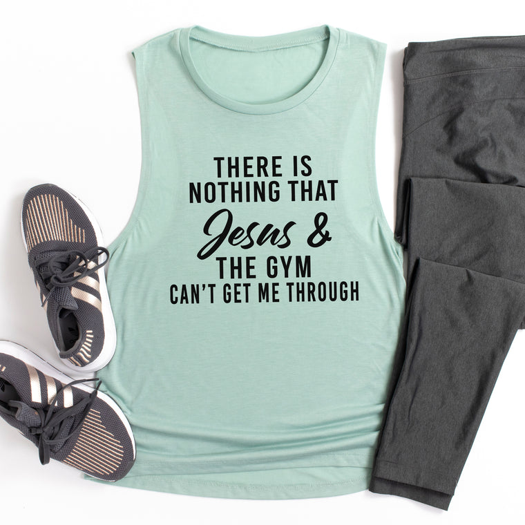 Workout Tank. There Is Nothing That Jesus and The Gym Can't Get Me Through. Fitness Tank. Gym Tank. Faith