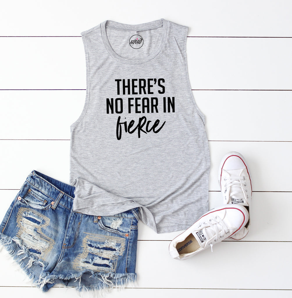 There's No Fear In Fierce Tank Top. Workout Tank. Girl Boss. Fitness Tank. Mom Hustle. Mom Boss. Faith over Fear. Gym Shirt