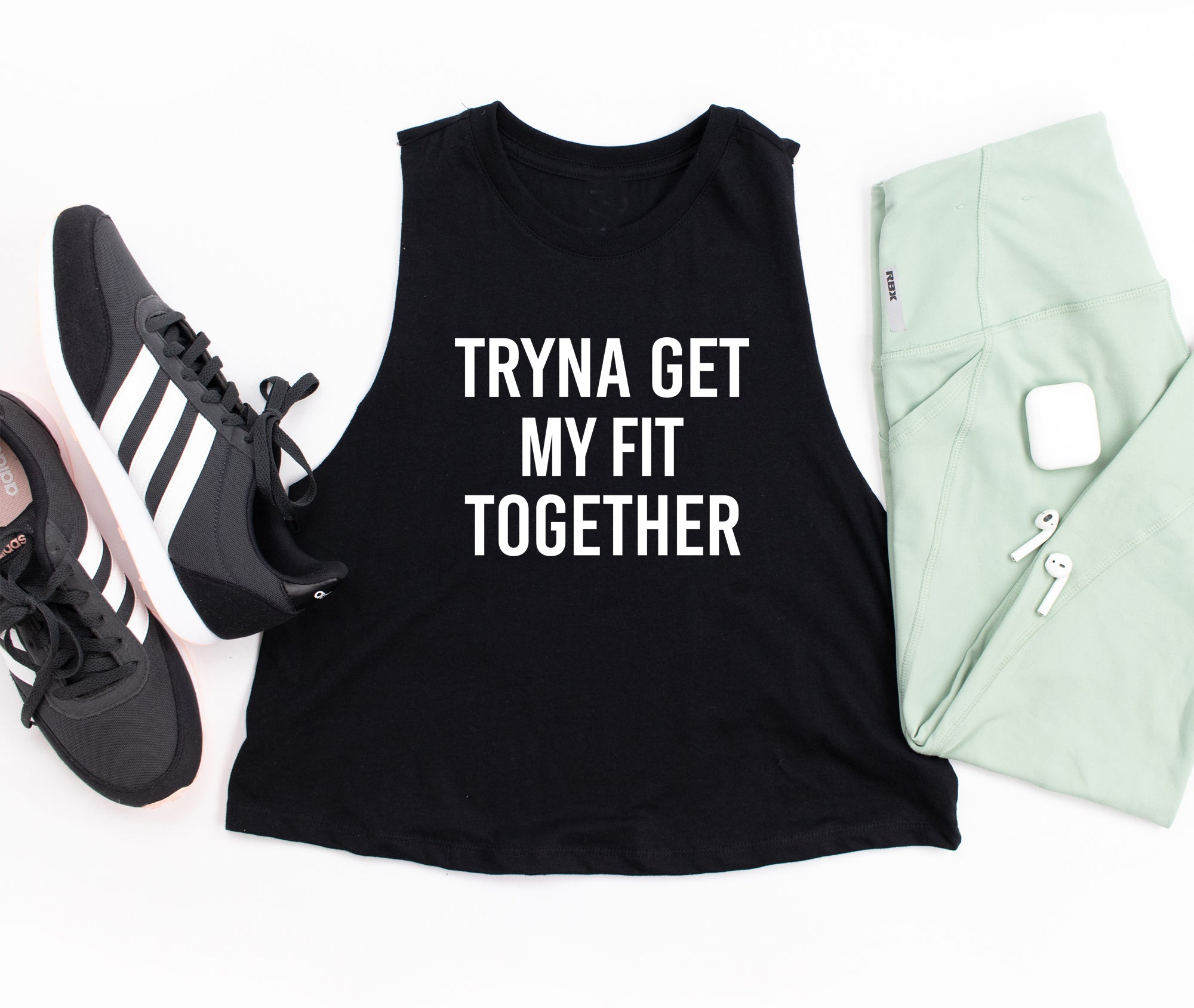 Tryna Get My Fit Together. Fitness Tank. Workout Shirt. Gym Tank. Lift Heavy. Womens Tank Top. Funny Fitness. Cross fit. Bootcamp. Hustle
