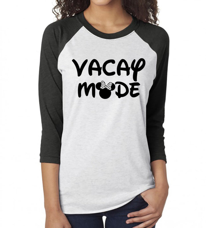 Vacay Mode Raglan Baseball. On Vacay Mode. Disney Vacation Shirt. Mom Life. On Vacation. Disney Shirt. Vacation Shirt. Minnie Shirt. Funny.